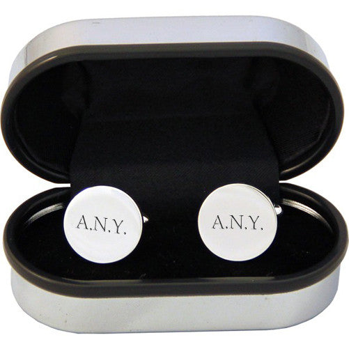 Men's Personalised Round Silver Plated Cufflinks