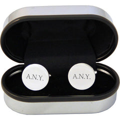 Men's Personalised Round Silver Plated Cufflinks - Luxe Gift Store