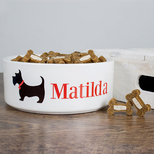 Dog's Personalised 'Scottie Dog' Food Bowl