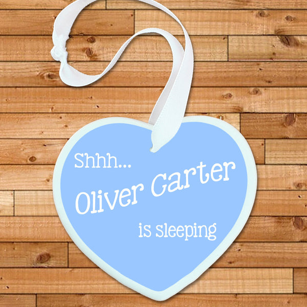 Baby Boy's Personalised 'Shhh Baby's Sleeping' Blue Heart Keepsake