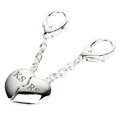 Silver Plated Joining Hearts Personalised Keyrings - Luxe Gift Store