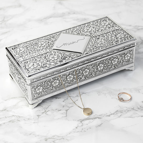 Silver Trinket Personalised Box