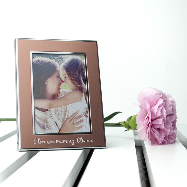 Rose Gold Metal Personalised Photo Frame - Small