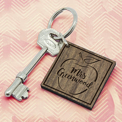 Teacher's Personalised Apple Square Shaped Wooden Keyring - Luxe Gift Store