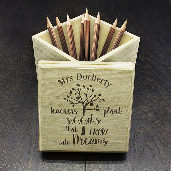 Teacher's Personalised Plant Seeds Cube Box