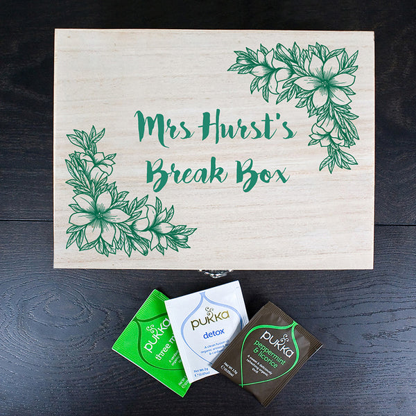 Teacher's Tea Break Box Personalised Floral Design