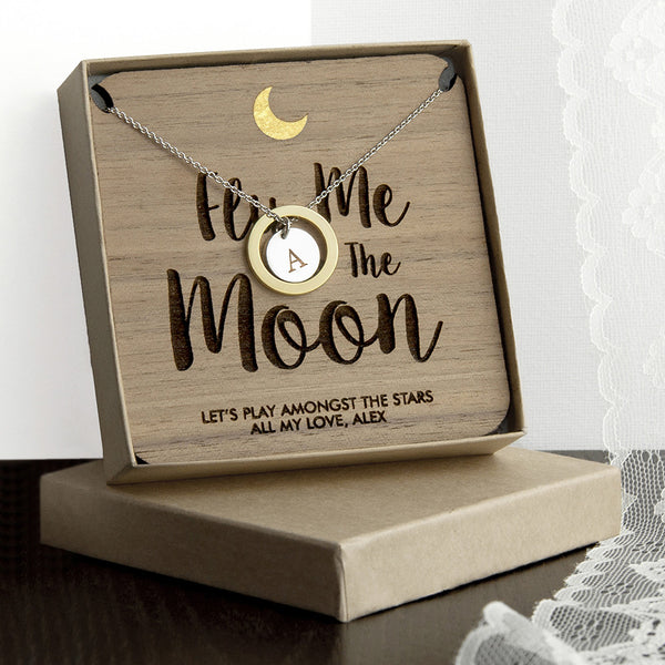 Romantic 'Fly Me To The Moon' Necklace - Gold & Silver (Shown) or Rose Gold & Silver
