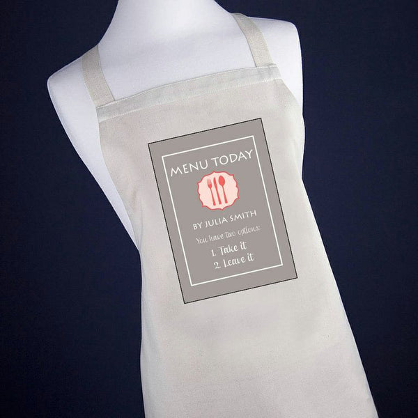 'Today's Menu' Personalised Apron