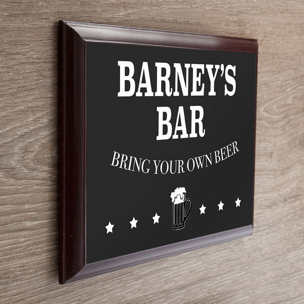 Men's 'Welcome To My Bar' Personalised Plaque
