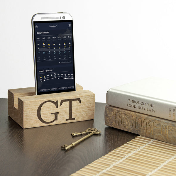 Mobile Phone Personalised Wooden Charging Stand