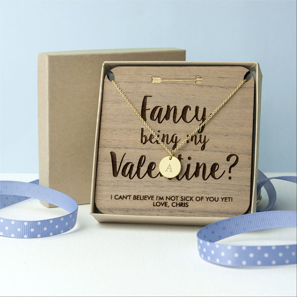 'Fancy Being My Valentine' Personalised Single Charm Necklace - Gold (Shown), Silver or Rose Gold
