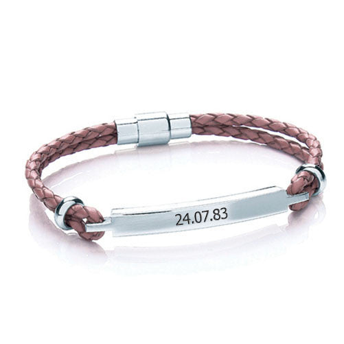 Women's Leather Personalised Bracelet - Pink Shown
