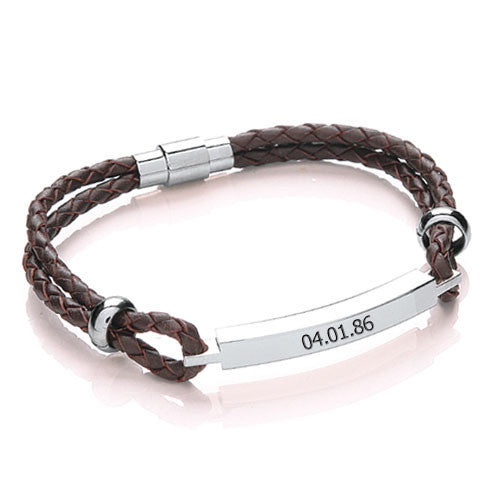 Women's Leather Personalised Bracelet - Brown Shown