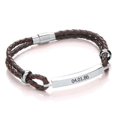 Women's Leather Personalised Bracelet - Red, Tan or Black - Luxe Gift Store - 2