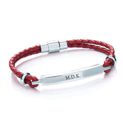 Women's Leather Personalised Bracelet - Red, Tan or Black - Luxe Gift Store - 1