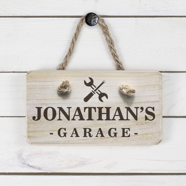 Men's Garage Personalised Wooden Sign