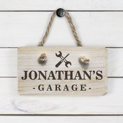 Men's Garage Personalised Wooden Sign - Luxe Gift Store