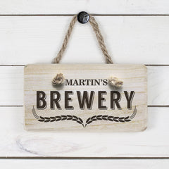 Men's Home Brewery Personalised Wooden Sign