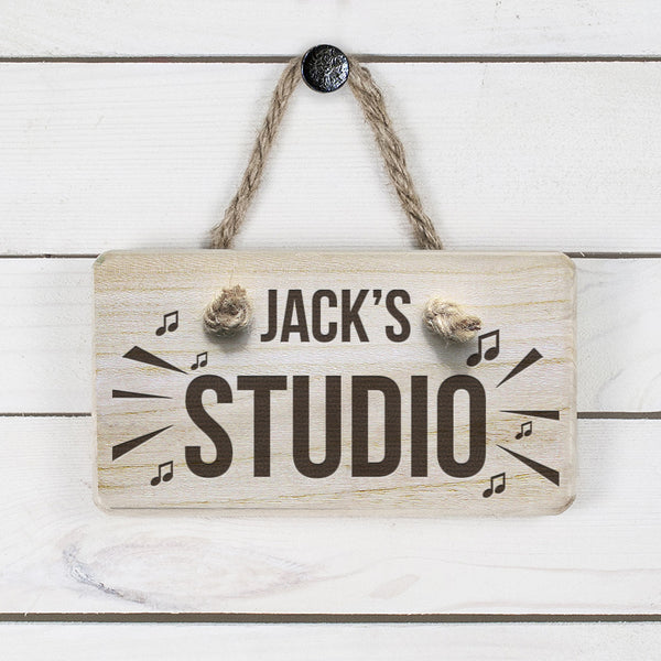 Men's Music Studio Personalised Wooden Sign