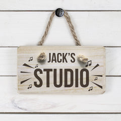 Men's Music Studio Personalised Wooden Sign - Luxe Gift Store