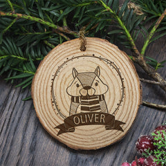 Christmas Tree Personalised Wooden Chipmunk Decoration - Luxe Gift Store