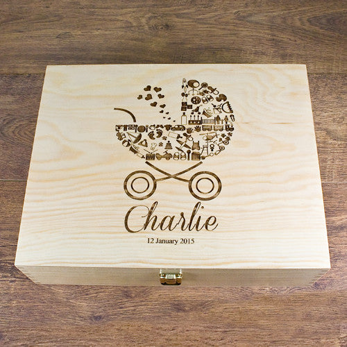 Baby Boy's Pram Personalised Memory Box
