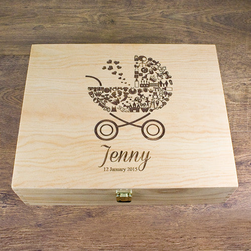 Baby Girl's Personalised Pram Memory Box