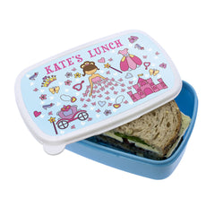 Kid's Pretty Princess Personalised Lunch Box - Pink or Blue - Luxe Gift Store