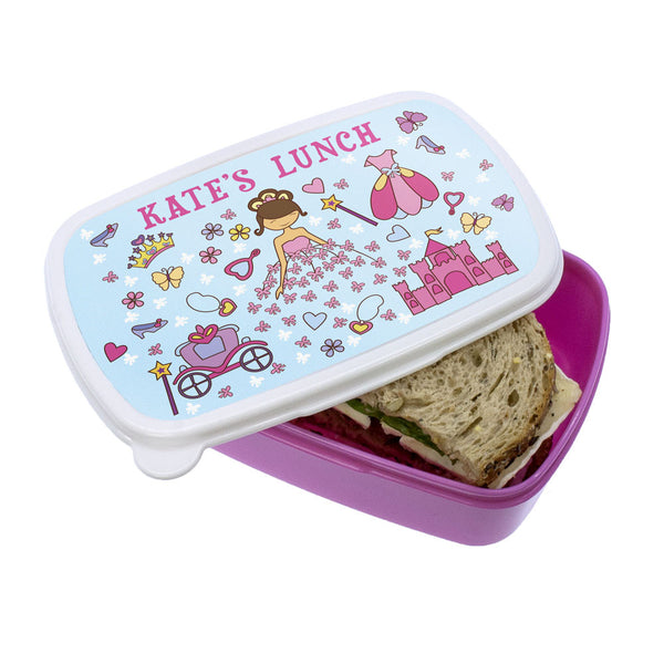 Kid's Pretty Princess Personalised Lunch Box - Pink or Blue