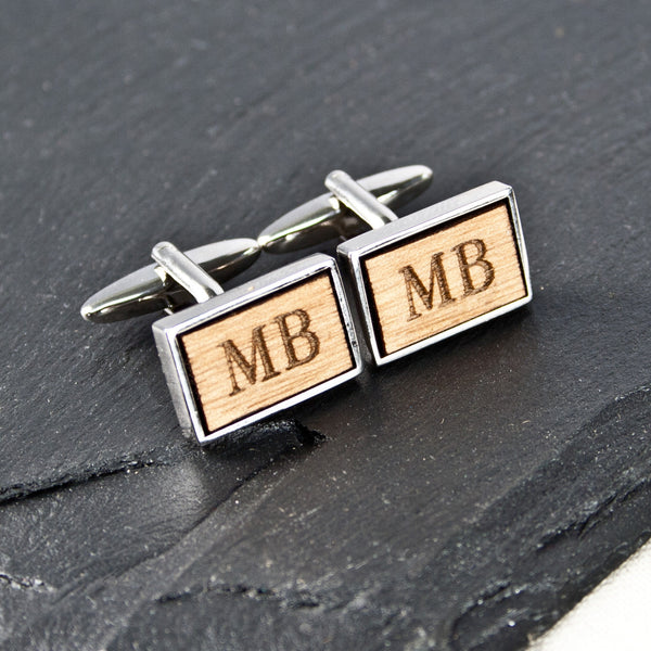 Men's Personalised Rectangle Wooden Cufflinks