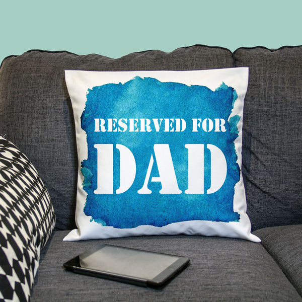 Dad's 'Reserved For... ' Personalised Watercolour Cushion Cover