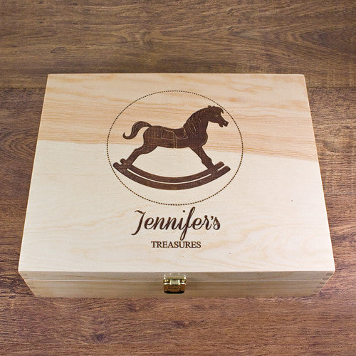 Baby's Personalised Rocking Horse Memory Box - Unisex