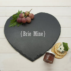 Romantic Personalised Brackets Heart Slate Cheese Board -