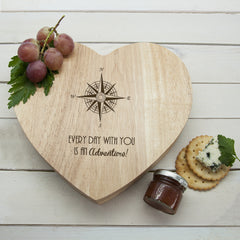 Romantic Compass Heart Cheese Board -