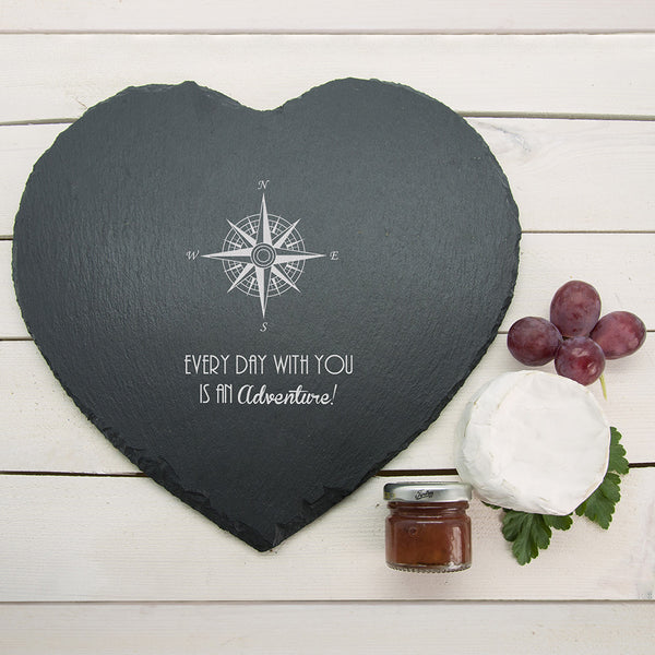 Romantic Personalised Compass Heart Slate Cheese Board
