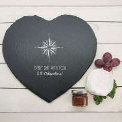 Romantic Personalised Compass Heart Slate Cheese Board -