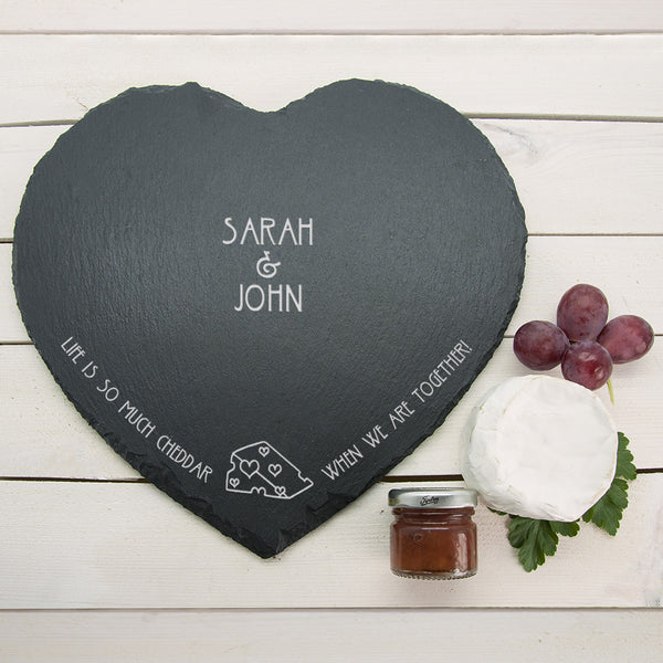 Romantic Pun 'Life is So Much Cheddar' Personalised Heart Slate Cheese Board