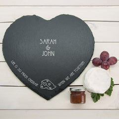 Romantic Pun 'Life is So Much Cheddar' Personalised Heart Slate Cheese Board -