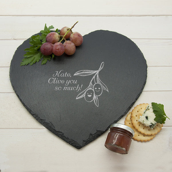 Romantic Pun 'Olive You So Much!' Personalised Heart Slate Cheese Board