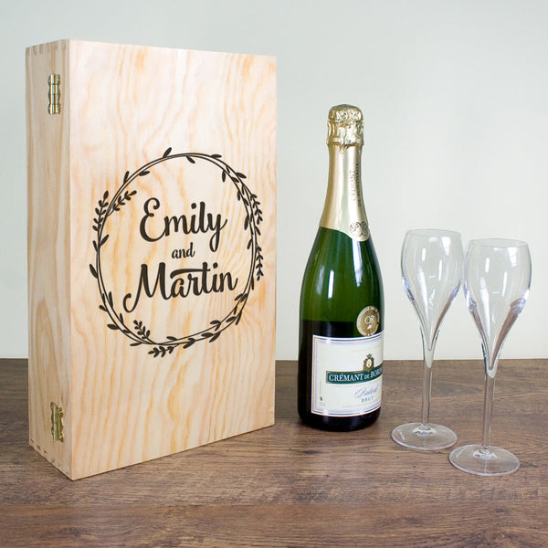 Romantic Wreath Personalised Double Wine Box