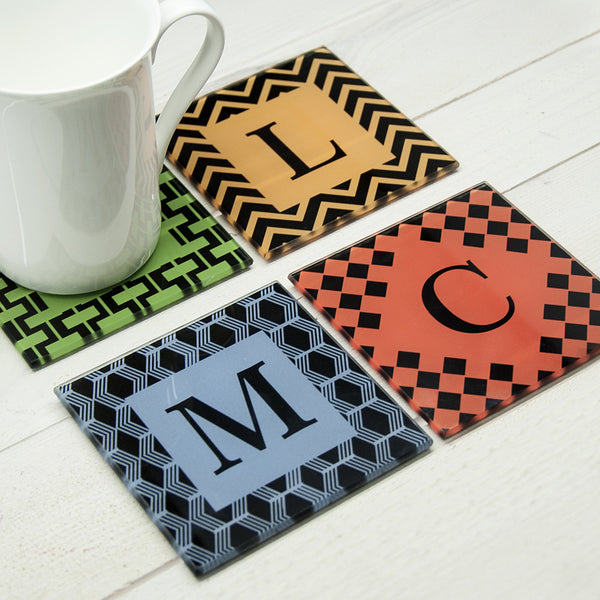 Art Deco Design Glass Personalised Coasters - Set of 4