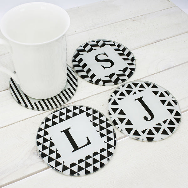 Black & White Design Personalised Glass Coasters - Set of 4