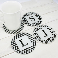 Black & White Design Personalised Glass Coasters - Set of 4 - Luxe Gift Store