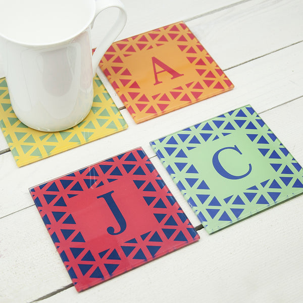 Vibrant Design Personalised Glass Coasters - Set of 4