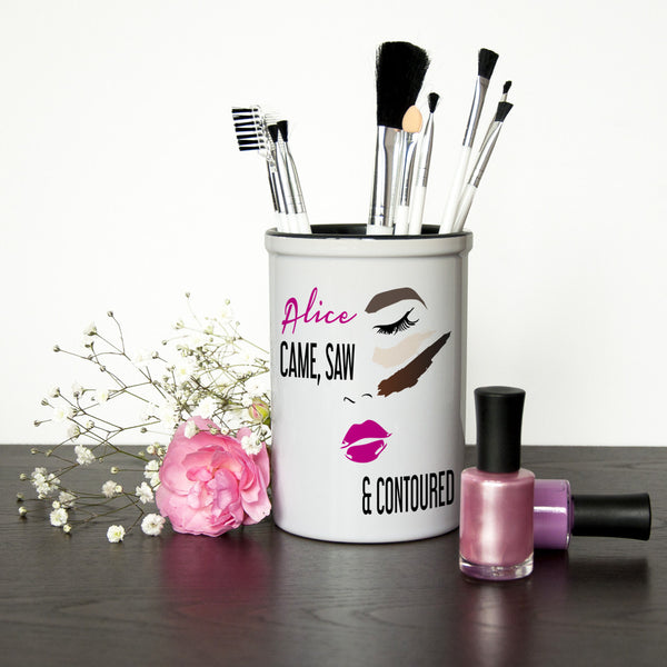 Girl's Personalised Makeup Brush Holder 'She Came, She Saw, She Contoured'