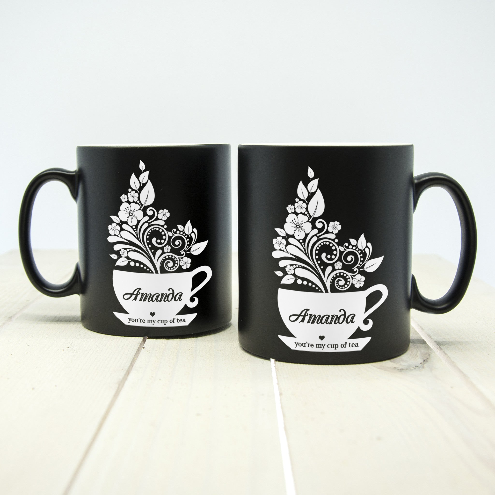 silhouette 39 you 39 re my cup of tea 39 personalised mug luxe gift store. Black Bedroom Furniture Sets. Home Design Ideas