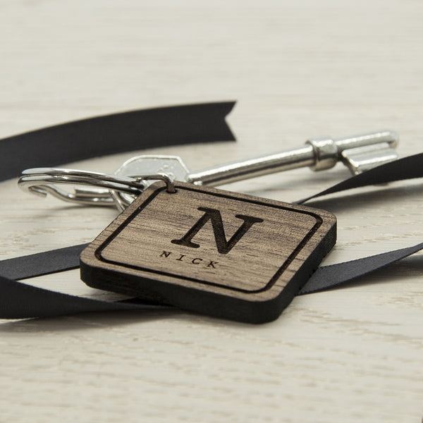 Square Wooden Personalised Key Ring - Initial and Name