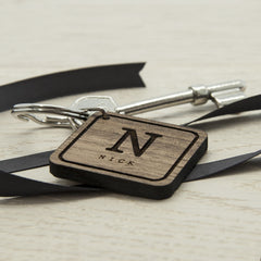 Square Wooden Personalised Key Ring - Initial and Name -