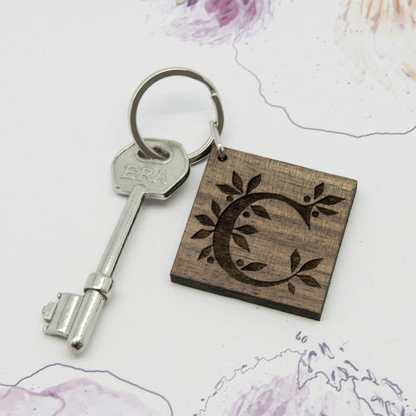 Square Wooden Personalised Key Ring - Initial with Leaves