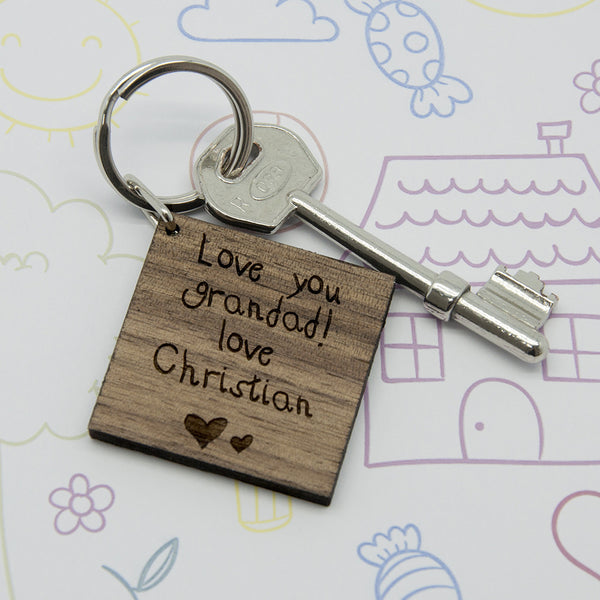 Square Wooden Personalised Keyring - Kids Handwriting